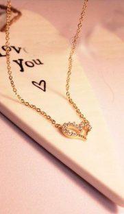 "009 181x312 - Ожерелье ""Сердце"" с кристаллами - золото"