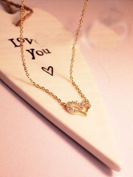 """009 - Ожерелье """"Сердце"""" с кристаллами - золото"""