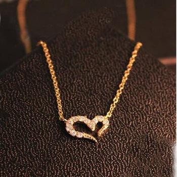 """009 1 1 - Ожерелье """"Сердце"""" с кристаллами - золото"""