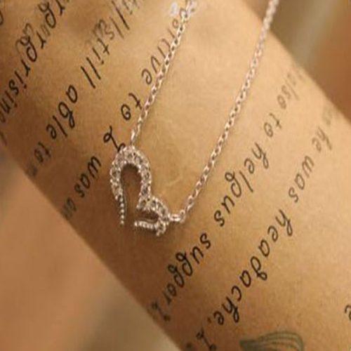"009s 500x500 - Ожерелье ""Сердце"" с кристаллами серебро"