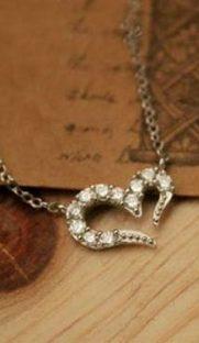 "009s  181x312 - Ожерелье ""Сердце"" с кристаллами серебро"