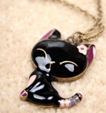 """008  - Ожерелье """"Кошка с цветком"""""""