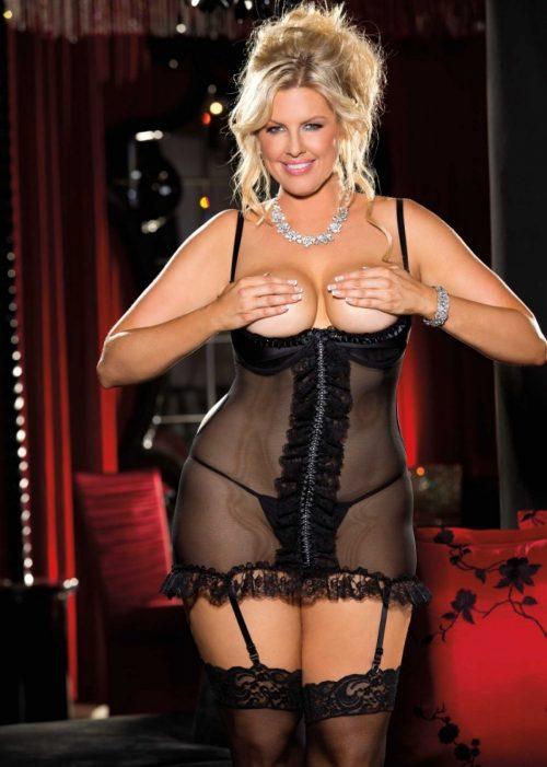 X25341 1 500x701 - Секси сорочка с открытым бюстом большого