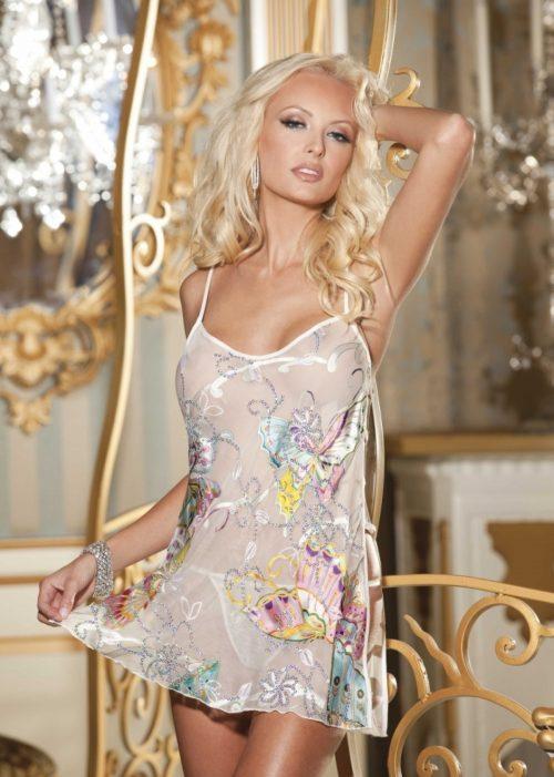 30107 1 500x701 - Шелковая сорочка с многоцветными бабочками