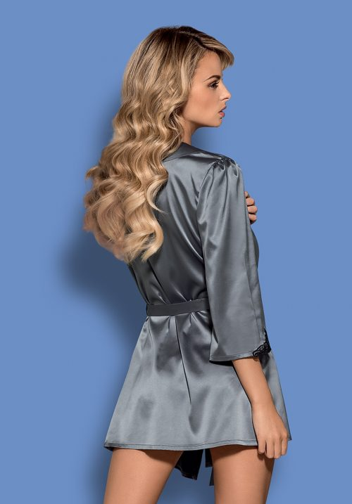 karuzela  obsessive satinia robe gray back 500x717 - Сатиновый халат  SATINIA ROBE