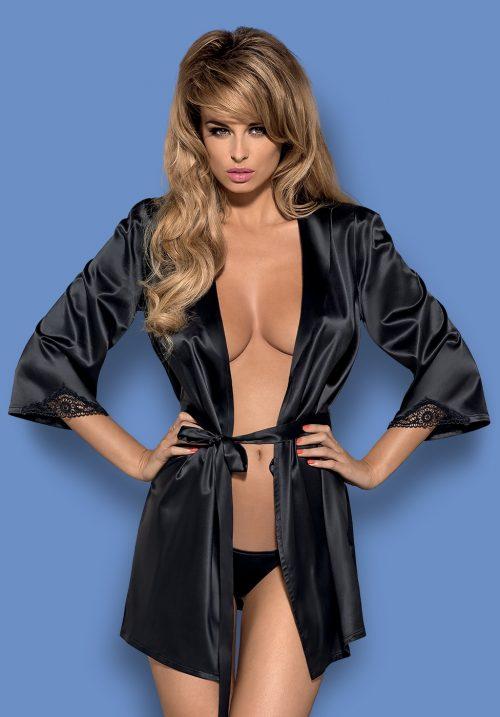 karuzela obsessive satinia robe black 500x717 - Сатиновый халат  SATINIA ROBE