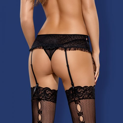 diamond garter belt black back 1 500x500 - Пояс для чулок Obsessive DIAMOND garter belt