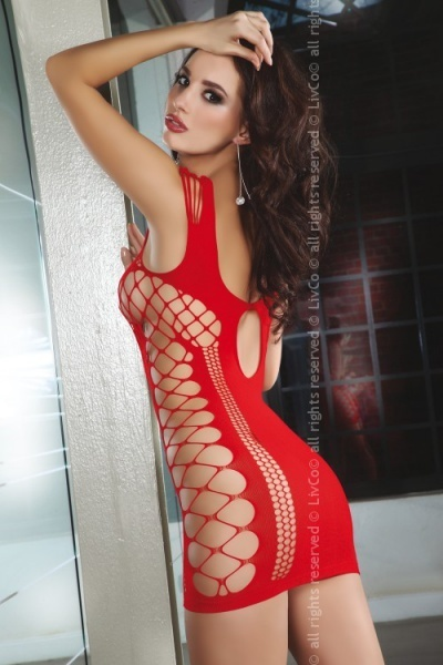 Anshula Red LC  - Эротичное платье-сетка Anshula LC