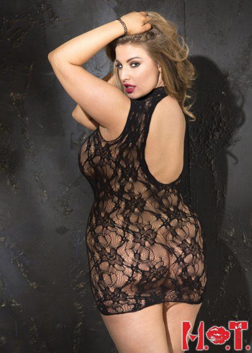 X90393  1 500x700 - Облегающее платье с открытой спинкой большого размера