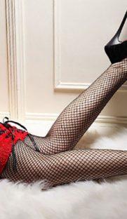 4018 181x312 - Эротичные чулки в сетку с кружевной резинкой и шнуровкой