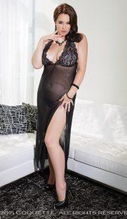7022plus 181x312 - Прозрачное длинное платье с кружевным лифом большого размера
