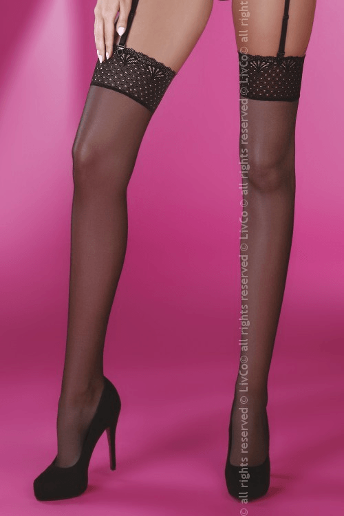Giorgia black LC 500x750 - Чулки с кружевной резинкой Giorgia LC