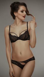 Gala blackbeige bra Lamore 181x312 - Кружевной бюстгальтер с украшением на груди Gala black+beige bra L'amore