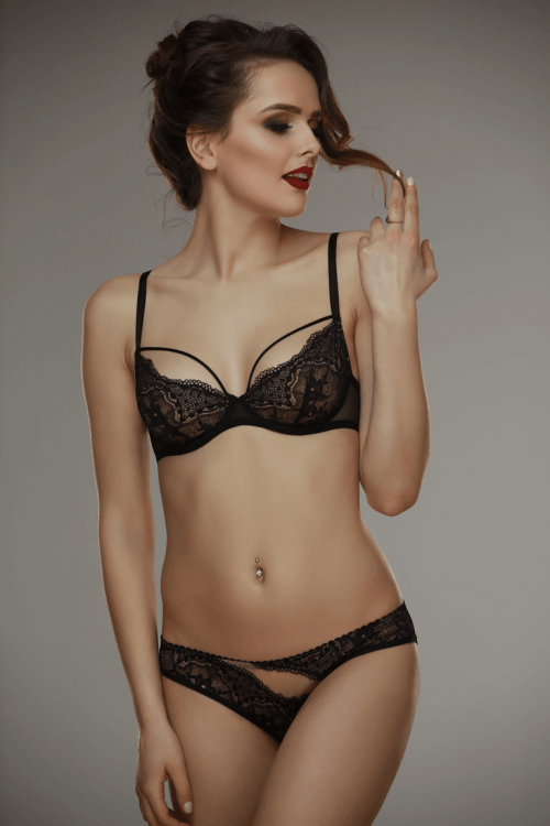 Gala blackbeige bra Lamore 500x750 - Трусики кружевные Gala black+beige  L'amore
