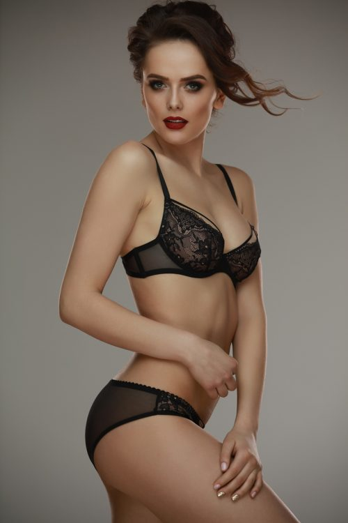 Gala blackbeige bra Lamore  500x750 - Кружевной бюстгальтер с украшением на груди Gala black+beige bra L'amore