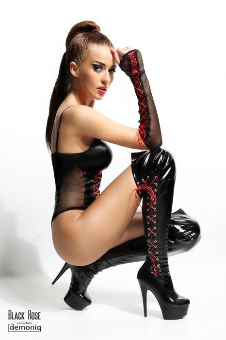 Evelyne Demoniq 1 - Боди из латекса с перчатками Evelyne Demoniq