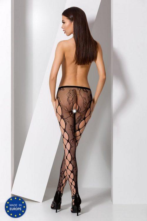 s008 black  500x750 - Колготы с вырезом между ног и узором по бокам S008 Passion
