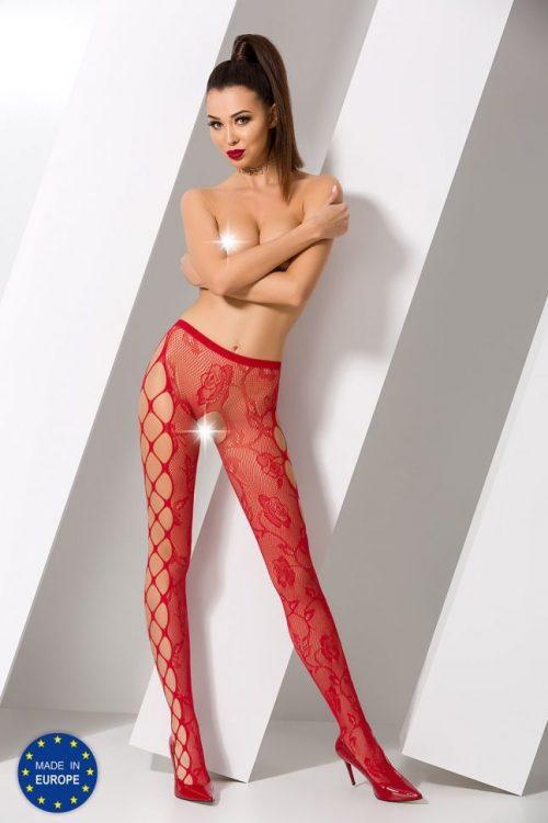 s008 red 500x750 - Колготы с вырезом между ног и узором по бокам S008 Passion