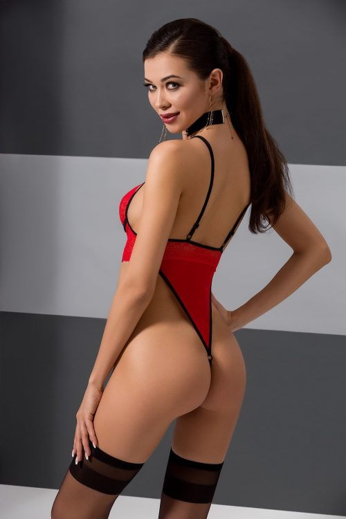 AKITA BODY red  500x750 - Боди из полупрозрачной ткани с лифом из тесемок AKITA BODY Passion большого размера