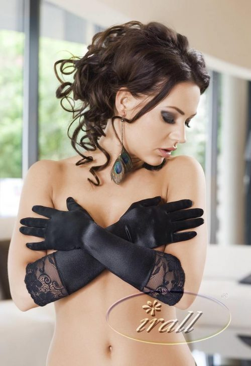 NORA GLOVES CHernyj 1 500x727 - Атласные перчатки IRALL ERO NORA GLOVES