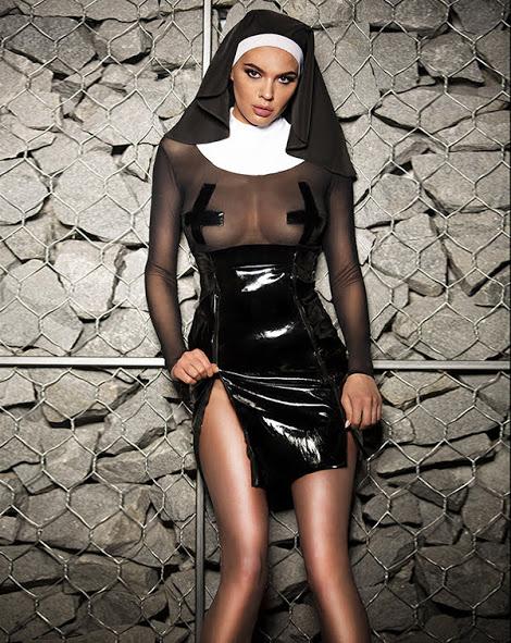igrovoj kostyum monashka flirtoshop.com.ua 2 - Полупрозрачный игровой костюм Монашка с длинным рукавом