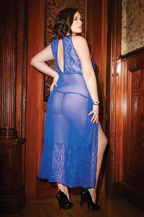 coquette c 3740 plus gown flirtoshop.com.ua 1 500x750 - Прозрачная, длинная сорочка с кружевным лифом большого размера