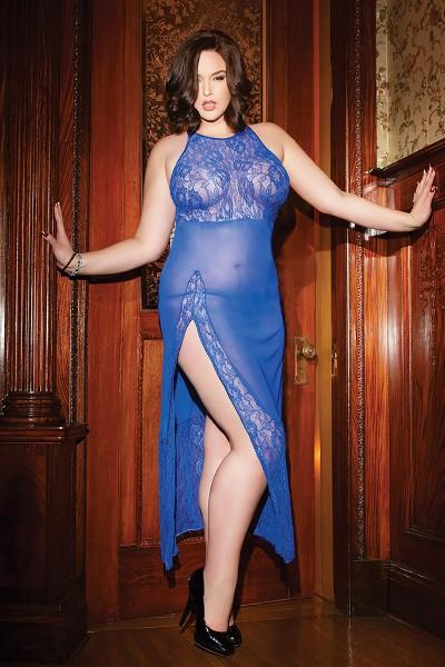 coquette c 3740 plus gown flirtoshop.com.ua - Прозрачная, длинная сорочка с кружевным лифом большого размера