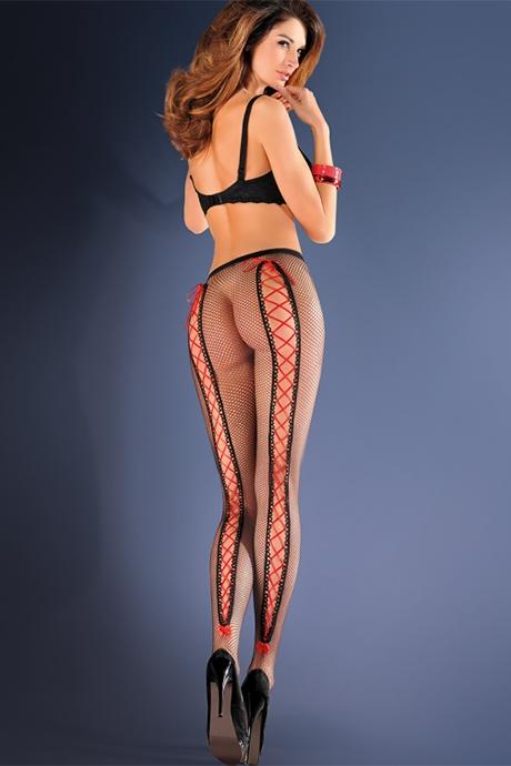 kolgoty v setku s krasnoj shnurovkoj gabriella dolores flirtoshop.com.ua 1 - Колготы в сетку с красной шнуровкой Gabriella Dolores