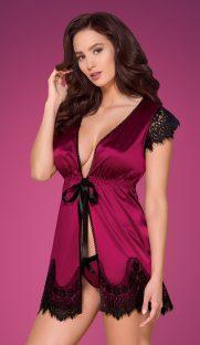 obsessive flirtoshop.com.ua 181x312 - Атласный халат с кружевными рукавами  Obsessive