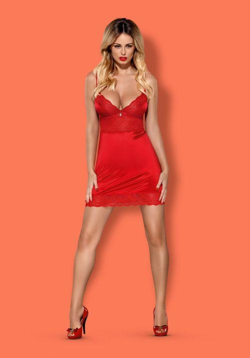obsessive lovica chemise flirtoshop.com.ua 1 scaled 500x717 - Облегающая сорочка с чашкой на косточках Obsessive Lovica chemise