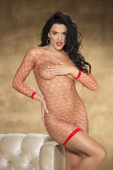 flirtoshop.com.ua 15 - Сексуальная сорочка из сетки со стразами