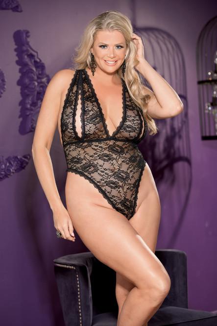flirtoshop.com.ua 19 - Мягкое боди с вырезами на груди большого размера