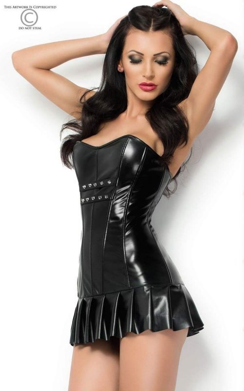 3869 dress mini chilirose flirtoshop.com.ua 2 500x800 - Платье-корсет из эко-кожи со складками  DRESS MINI  Chilirose