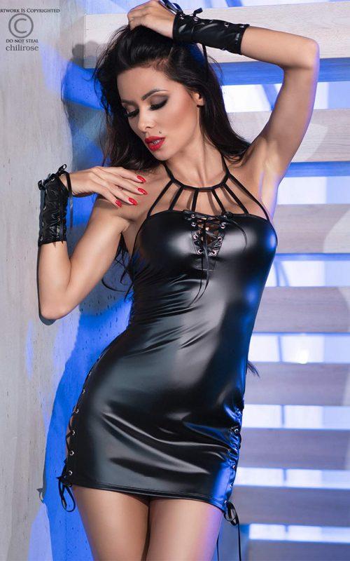 chilirose 4338 dress mini latex gloves flirtoshop.com.ua 500x800 - Платье из винила со шнуровкой DRESS MINI Latex+Gloves Chilirose