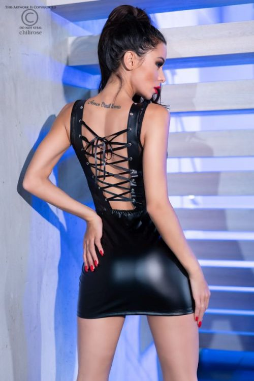 chilirose 4339 dress mini latex flirtoshop.com.ua 2 500x750 - Сорочка под латекс с кружевными вставками Chilirose  DRESS MINI Latex