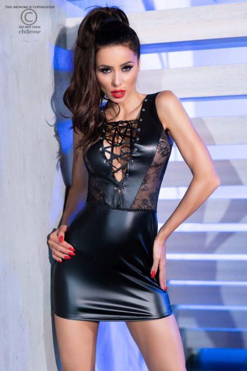 chilirose 4339 dress mini latex flirtoshop.com.ua 500x750 - Сорочка под латекс с кружевными вставками Chilirose  DRESS MINI Latex