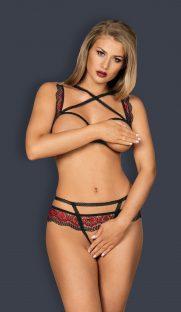obsessive megies set flirtoshop.com.ua 181x312 - Комплект из кружева с тесемками и открытой грудью Obsessive Megies set