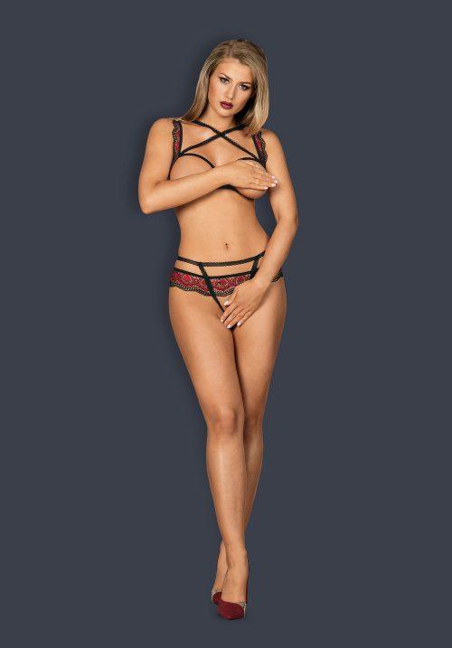 obsessive megies set flirtoshop.com.ua 2 500x717 - Комплект из кружева с тесемками и открытой грудью Obsessive Megies set