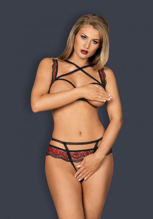 obsessive megies set flirtoshop.com.ua 500x717 - Комплект из кружева с тесемками и открытой грудью Obsessive Megies set