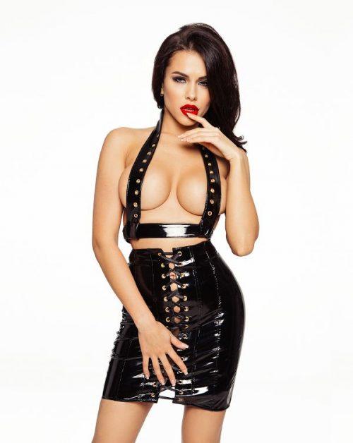 flirtoshop.com.ua 2 500x628 - Лаковая юбка на шнуровке  и разрезом сзади
