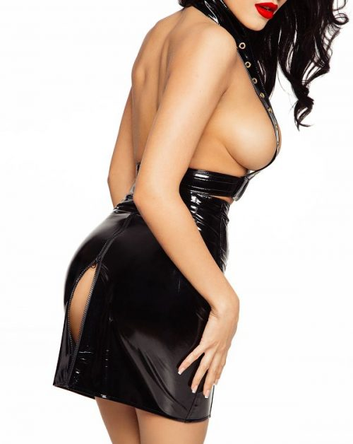flirtoshop.com.ua 3 500x628 - Лаковая юбка на шнуровке  и разрезом сзади