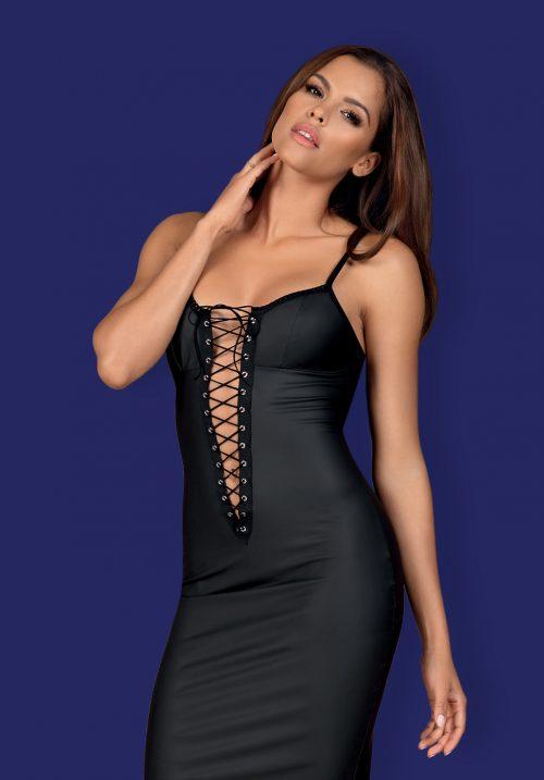 obsessive rebella dress flirtoshop.com.ua 3 500x717 - Длинное платье до колен под кожу Obsessive Rebella dress