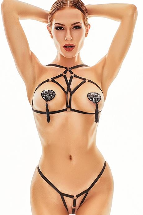 ans xantho flirtoshop.com.ua - Комплект из тесемок с открытой грудью - лиф и трусики ANS Xantho