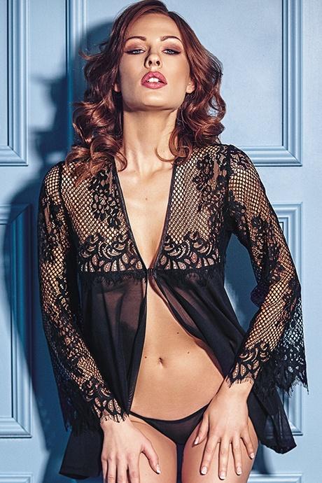 flirtoshop.com.ua 12 - Легкий пеньюар с длинными кружевными рукавами Anais Jolie