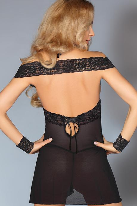 livco corsetti afica flirtoshop.com.ua 1 - Полупрозрачная сорочка с открытыми плечами LivCo Corsetti  Afica