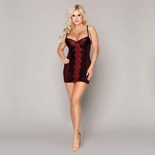 flirtoshop.com.ua 8 500x500 - Облегающее бордовое платье с кружевом